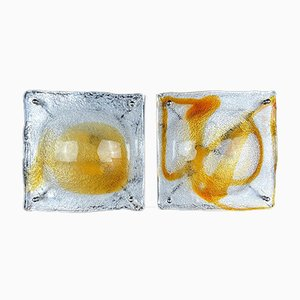 Italian Iced Murano Glass Wall Lamps by Toni Zuccheri for Poliarte, 1960s, Set of 2