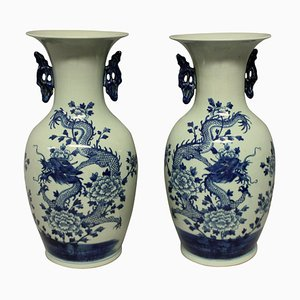 Chinese Blue & White Vases, 1950s, Set of 2