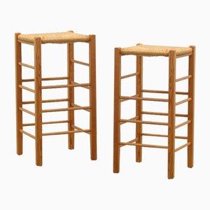 Pine and Rush Bar Stools, Set of 2