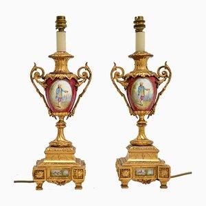 Antique French Porcelain & Gilt Metal Table Lamps, Set of 2