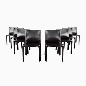 Black Leather Cab 412 Dining Chairs by Mario Bellini for Cassina, 1977, Set of 8