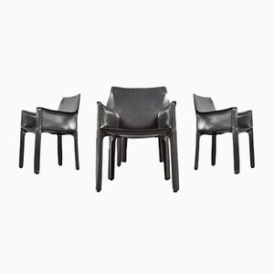 Dark Gray Leather Cab 413 Dining Chairs by Mario Bellini for Cassina, 1977, Set of 4