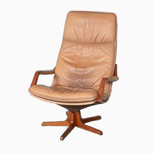 Vintage Scandinavian Leather Lounge Chair from Berg, 1970s