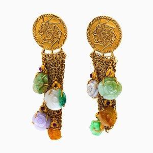 Jades Rubies Silver Mesh Gold-Plated 18 Karat Gold Earrings
