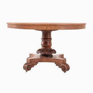Englischer Regency Eichenholz Tisch mit Wurzelholzgestell, 19. Jh