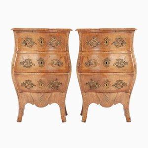 19th Century Italian Walnut Bombe Bedside Cabinets, Set of 2