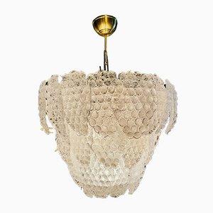Lampadario in vetro di Murano con disegni a grappolo di Mazzega