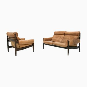 Natural Leather Sofa and Armchair by Carl Straub, 1970s, Set of 2
