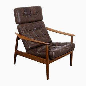 Teak & Leather FD164 Lounge Chair by Arne Vodder for France & Son / France & Daverkosen, 1960s