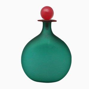 Flasche in Grün & Rot aus Murano Glas von Michielotto, 1970er