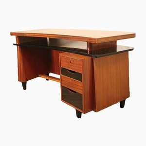 Vintage Asymmetrical Mahogany Desk, 1950s