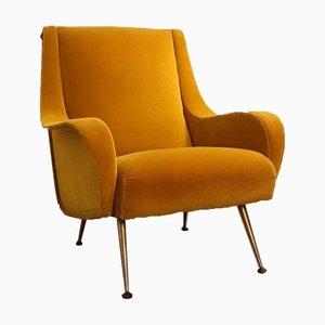 Vintage Italian Yellow Velvet Armchair, 1960s