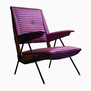 Vintage Armchair in Checkered Cotton, 1970s