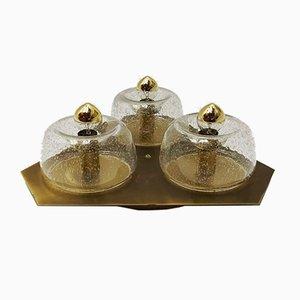 Triangular Brass Wall or Ceiling Lamp from Doria Leuchten, 1960s