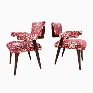 Lounge Chairs with Patterned Fabric in the Style of Franco Albini, Italy, Set of 2