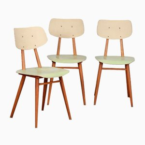 Vintage Wooden Chairs from TON, Set of 3