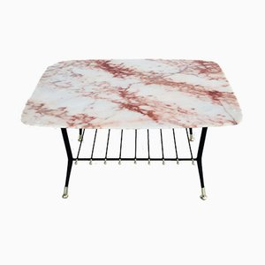 Mid-Century Italian Coffee Table with Pink Marble Top and Magazine Tray, 1970s