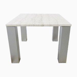 Tavolino da caffè in travertino e metallo, Italia