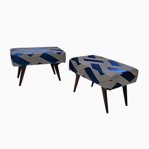 Mid-Century Royal Blue Poufs in the Style of Ico Parisi, Set of 2