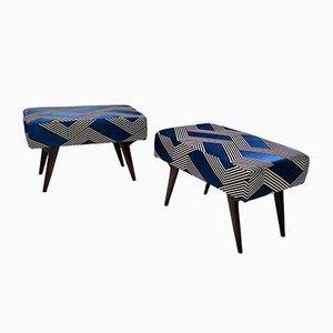 Poufs Mid-Century Bleu Roi Style Ico Parisi, Set de 2