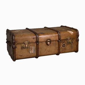 Large Edwardian English Steamer Trunk or Shipping Chest in Cedar, 1910s