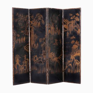 Screen in Wood and Leather with Chinoiserie Decoration