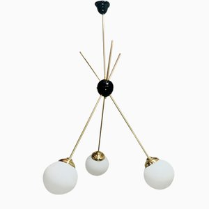 Pendant Lamp in Opal Glass and Brass, 1960s