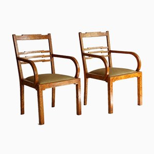 Swedish Art Deco Armchairs in Birch Root, Early 20th Century, Set of 2