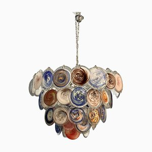 Large Space Age Murano Glass Disc Chandelier, 1970s