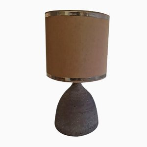 Vintage Table Lamp in Dark Brown Unglazed Ceramic with Silver & Brown Fabric Shade, 1970s