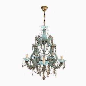 Turquoise Opaline Murano Glass Crystal Chandelier