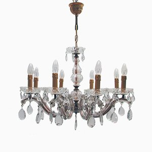 Italian Brass and Crystal 8-Light Chandelier, 1950s
