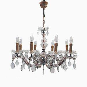 Lámpara de araña italiana de cristal y latón de 8 luces, años 50