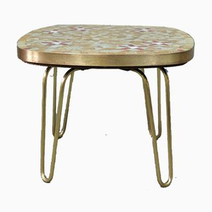 Mid-Century Mosaic and Brass Side Table from Ilse Möbel, 1950s