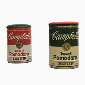 Andy Warhol Campbell Tribute Hocker von Dino Gavina für Studio Simon, 1970er, 2er Set