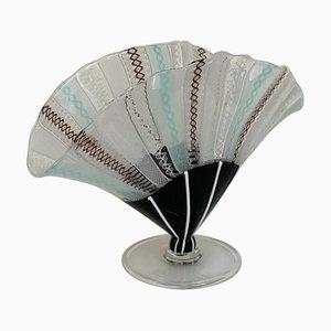 Murano Glass Mid-Century Italian Filigree Fan Vase by Fulvio Bianconi for Venini