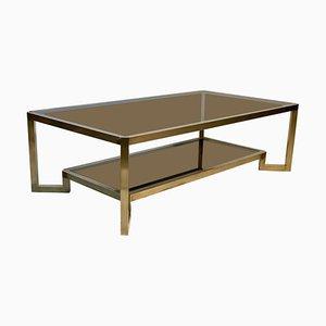 Mid-Century Italian Brass Structure Double Top Sofa Table