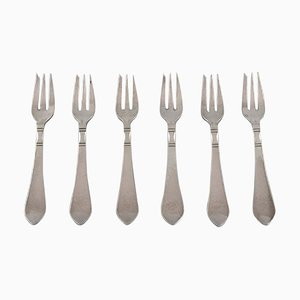 Continental Pastry Forks in Sterling Silver by Georg Jensen, Set of 6