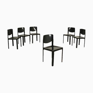 Metal Leather Chairs by Tito Agnoli for Matteo Grassi, 1980s, Set of 6