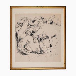 Domenico Purificato, Pferde, Original Zeichnung, 1952