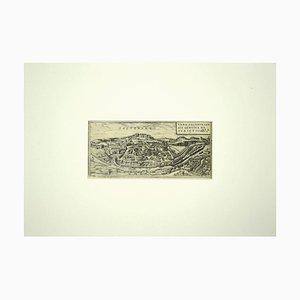 Carte de Salzburg, Franz Hogenberg, Gravure Originale, 17ème Siècle