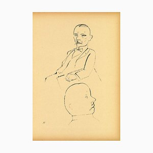George Grosz, In Thought, Original Offset and Lithograph, 1920