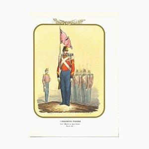 Antonio Zezon, Army I Swiss Regiment, Original Lithograph, 1854