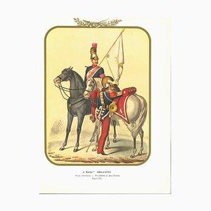 Antonio Zezon, I Dragons Regiment, Original Lithograph, 1854