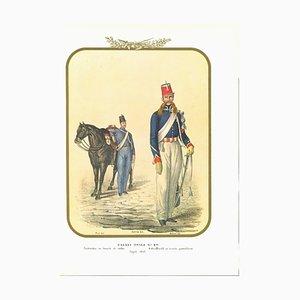 Antonio Zezon, Hussars of the Royal Guard, Original Lithograph, 1852