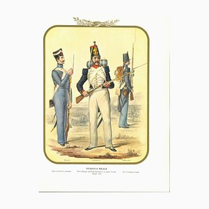 Antonio Zezon, Real Guard, Original Lithograph, 1852