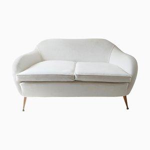 Italian White Velvet Sofa, 1950s