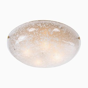 German Amber Murano Glass & Brass Flush Mount from Kaiser, 1960s