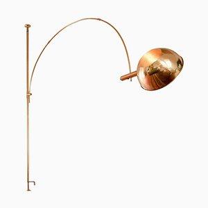 Verstellbare Messing Bogenlampe von Florian Schulz, 1960er