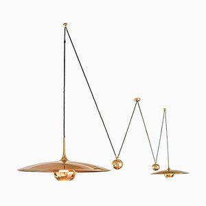 Adjustable Double Onos 55 Brass Pendant Lamp by Florian Schulz, Germany, 1970s